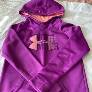 Youth large purple and pink under armour hoodie.